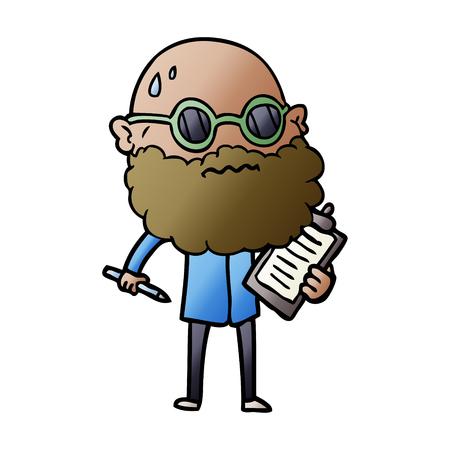 cartoon worried man with beard and sunglasses taking survey