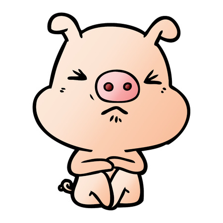 cartoon angry pig sat waiting vector illustration. Ilustrace