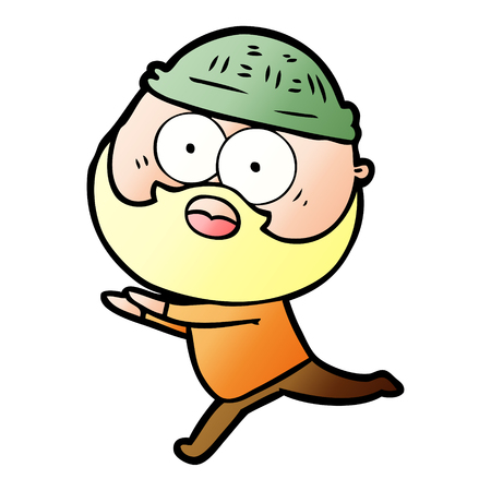 cartoon bearded man running away Иллюстрация