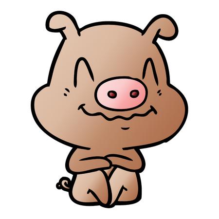 Nervous cartoon pig sitting