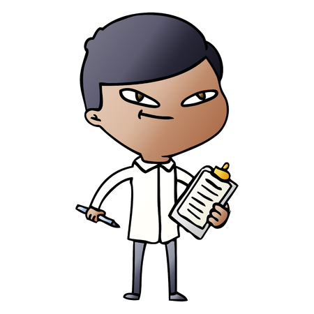 クリップボード付き漫画の少年