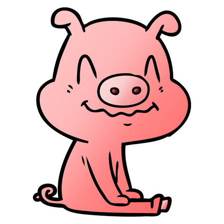 nervous cartoon pig sitting 向量圖像