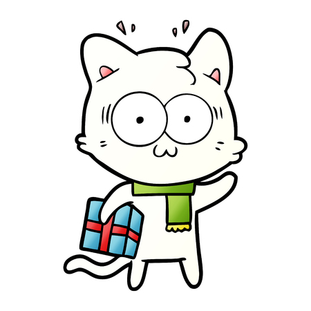 cartoon surprised cat with christmas present