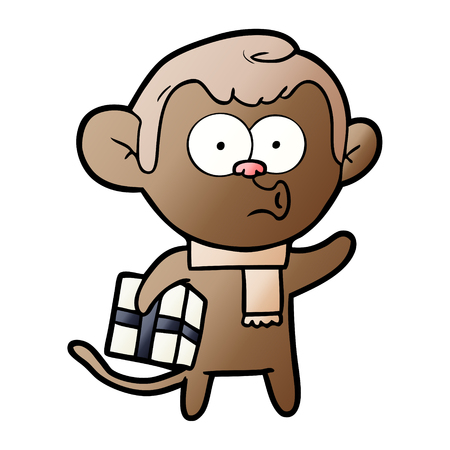 cartoon christmas monkey vector illustration.