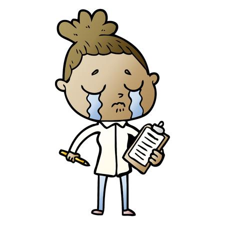 Cartoon crying saleswoman