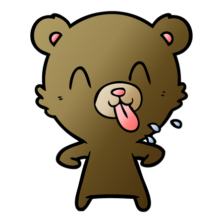 rude cartoon bear 일러스트