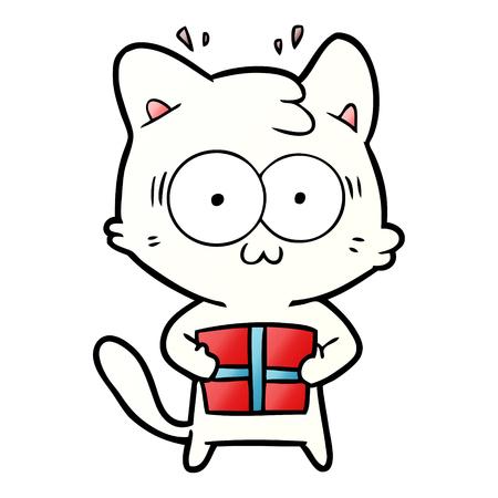 Cartoon surprised cat with christmas present Illustration