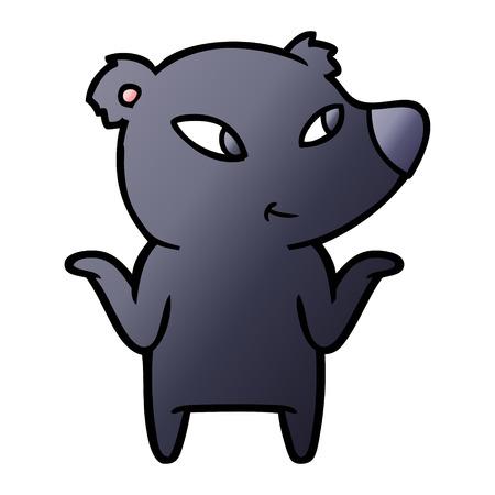 Cute cartoon bear shrugging shoulders