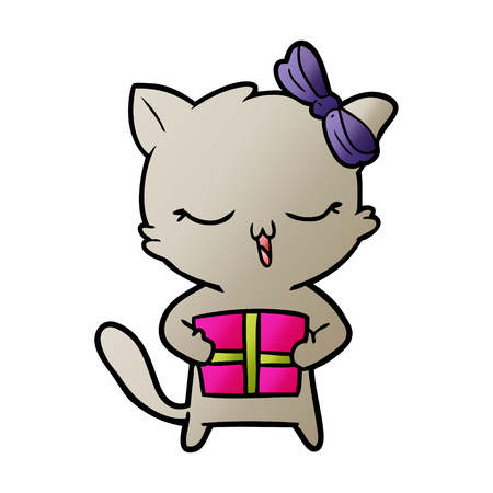 cartoon girl cat with christmas present Banque d'images - 95511555