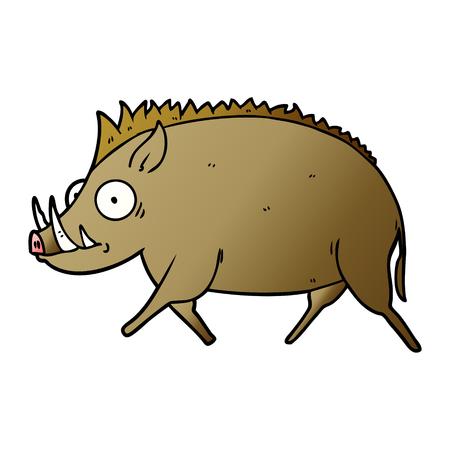 cartoon wild boar vector illustration.