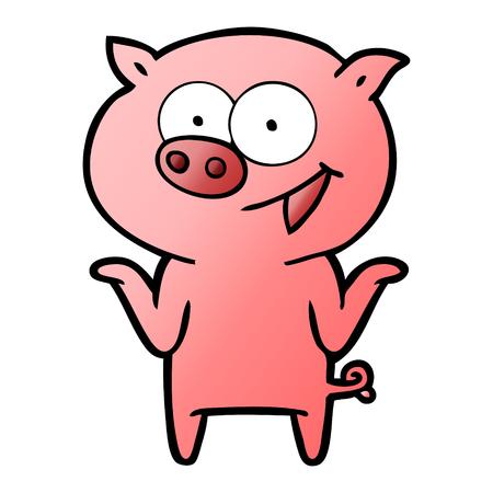 Cartoon pig with no worries Çizim