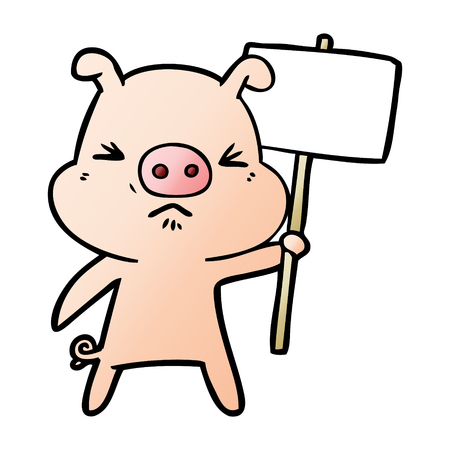 Cartoon angry pig protesting