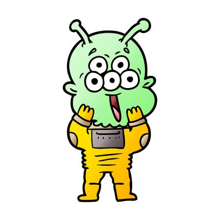 Happy cartoon alien