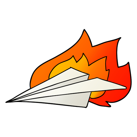 cartoon burning paper airplane Foto de archivo - 95613378