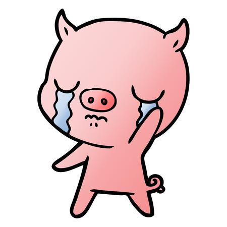 Cartoon pig crying waving goodbye
