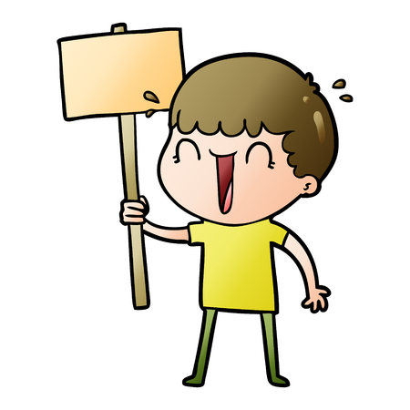 Laughing cartoon man waving placard Illustration