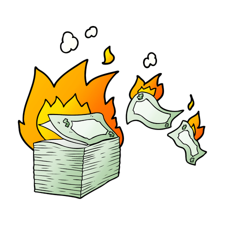 Burning money cartoon Çizim