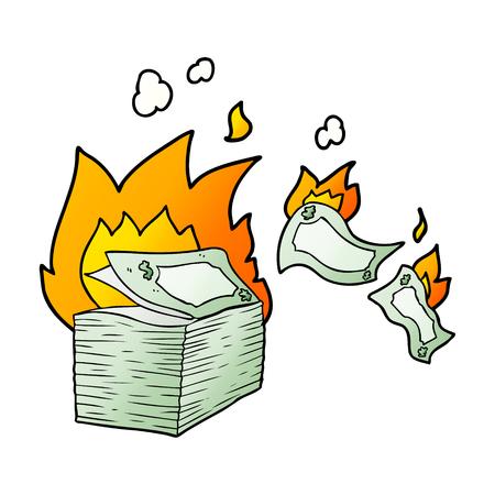 Burning money cartoon Illustration
