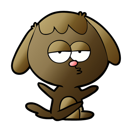 cartoon bored dog vector illustration.