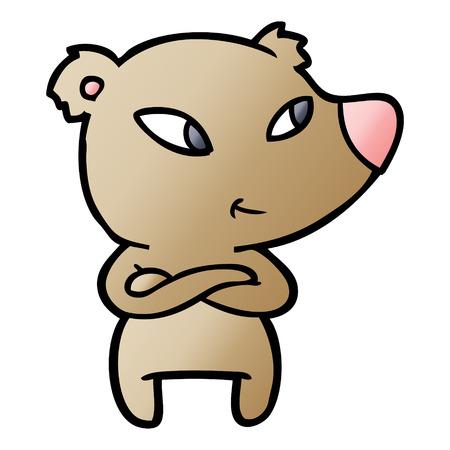 Cute cartoon bear with crossed arms