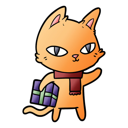 Cartoon cat with gift Banque d'images - 95527929