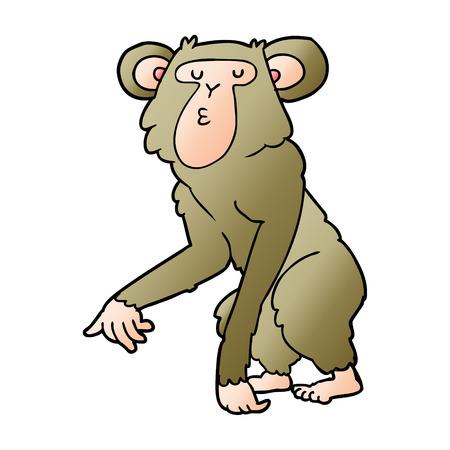 cartoon chimpanzee vector illustration. Stock Illustratie