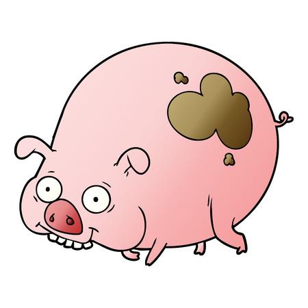 Cartoon muddy pig