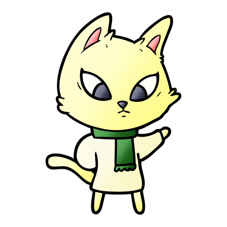 confused cartoon cat Иллюстрация