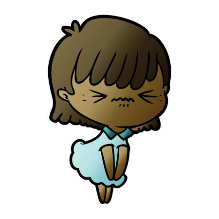 annoyed cartoon girl Banco de Imagens - 95614556