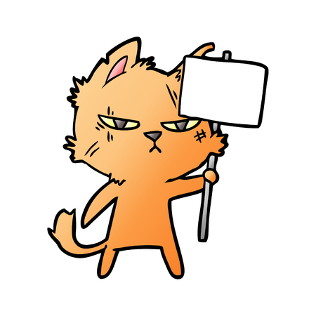 Tough cartoon cat with protest sign Stock Vector - 95528693