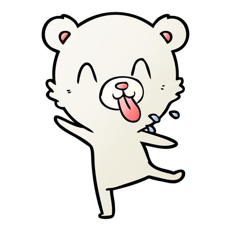 Rude cartoon polar bear sticking out tongue Illustration