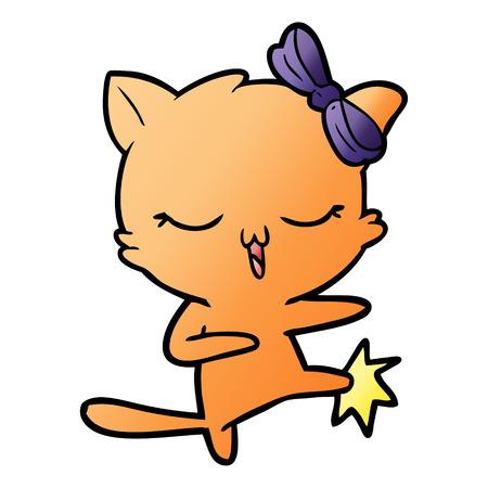 Cartoon cat with bow on head Illustration