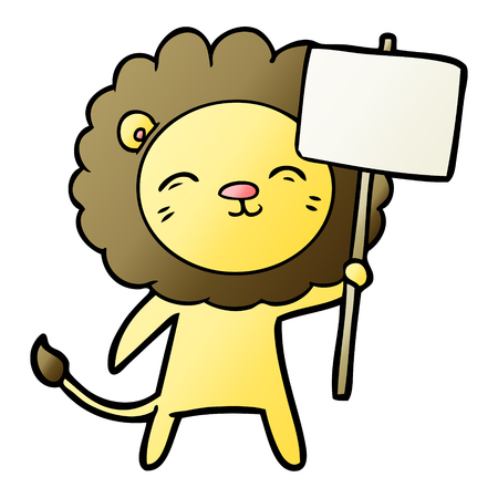 cartoon lion with protest sign Иллюстрация