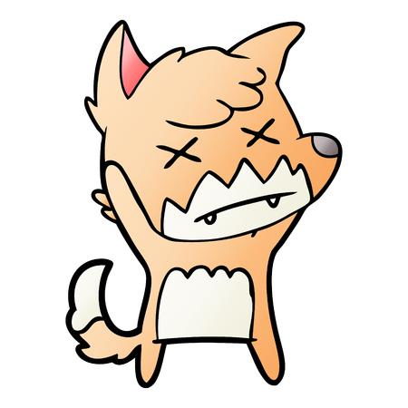 cartoon cross eyed fox Illusztráció