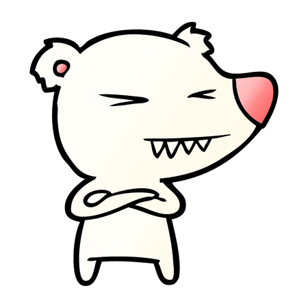 Angry polar bear cartoon with folded arms