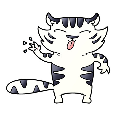 cartoon white tiger