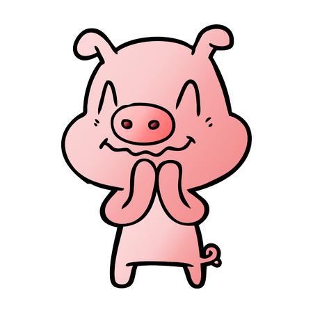 Nervous cartoon pig Çizim