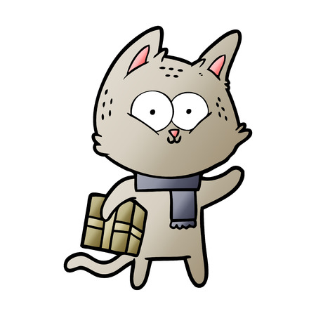 Cartoon cat holding christmas present Banque d'images - 95550436
