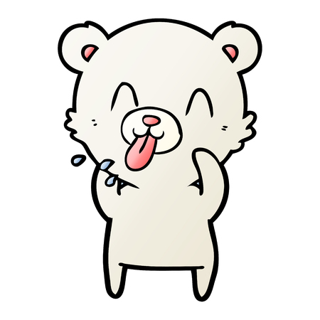 rude cartoon polar bear sticking out tongue
