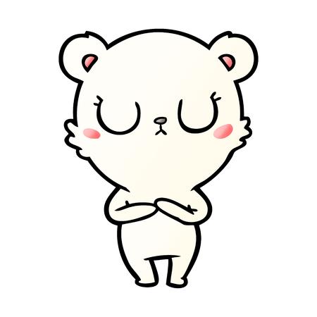Peaceful cartoon polar bear