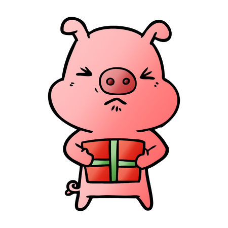 Cartoon angry pig with christmas present Illustration