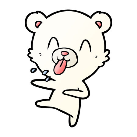 Rude cartoon dancing polar bear sticking out tongue Çizim