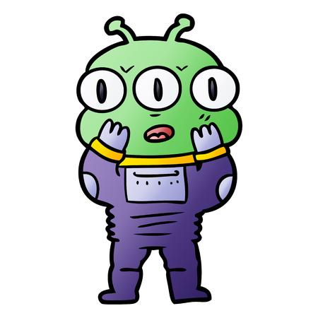 Surprised three eyed alien