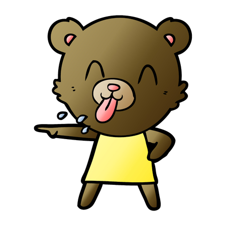 Rude cartoon bear pointing Illustration