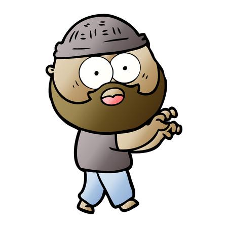 cartoon bearded man grasping