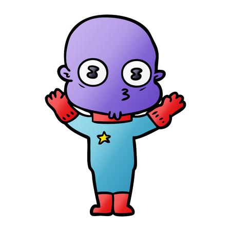 cartoon weird bald spaceman