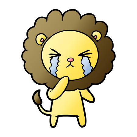 Cartoon crying lion Ilustrace