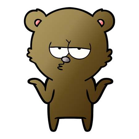 Bored bear cartoon shrugging