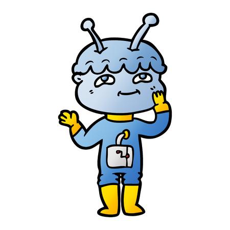 驚いた漫画の宇宙飛行士  イラスト・ベクター素材