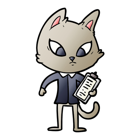 Confused cartoon business cat